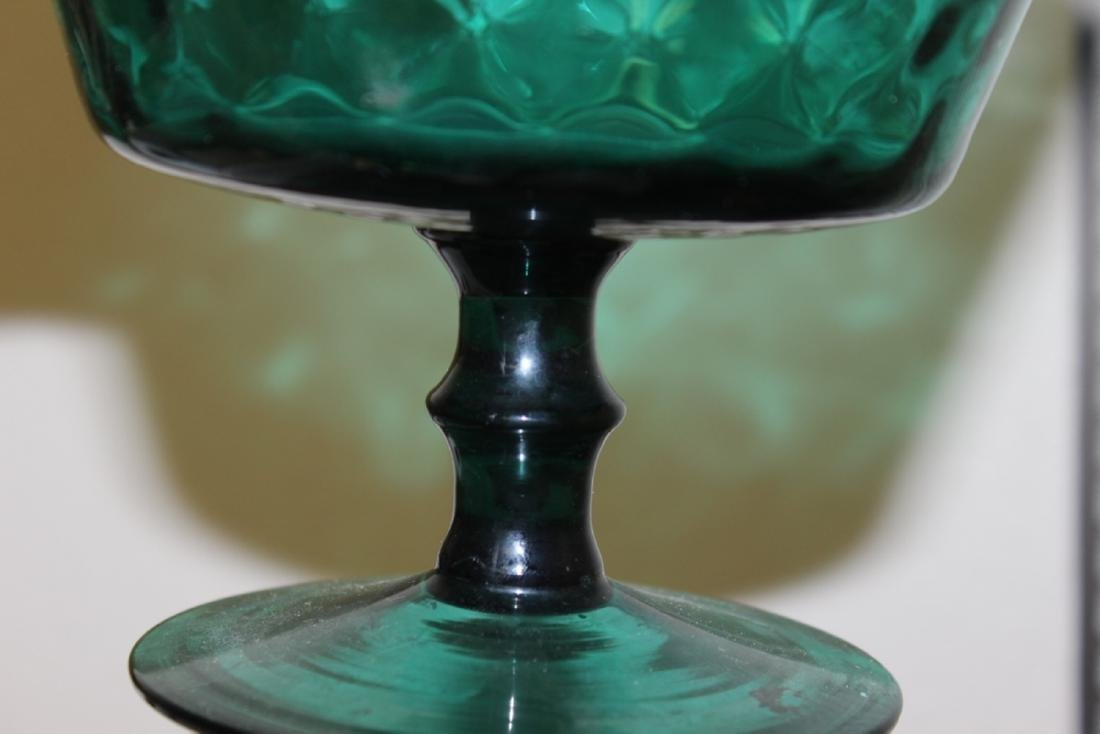 A Teal or Green Colour Glass Stem Bowl - 4