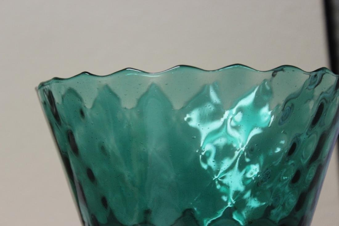 A Teal or Green Colour Glass Stem Bowl - 7