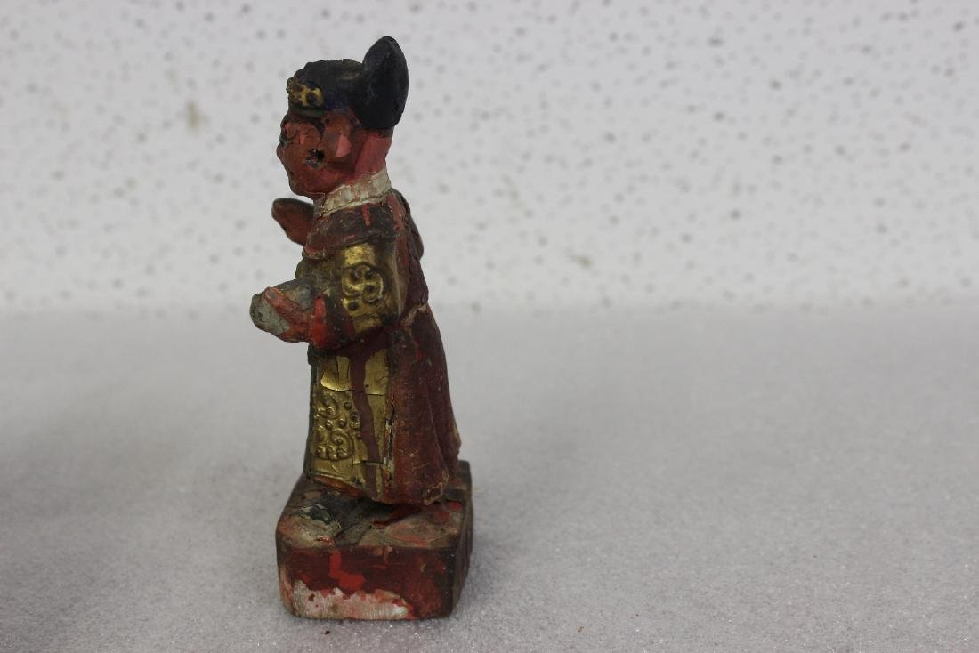 A Chinese Wooden Figurine - 4