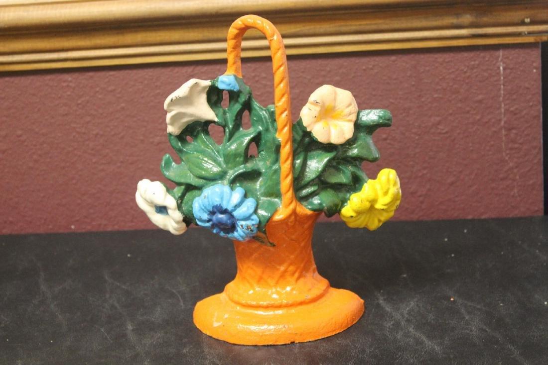A Cast Iron Floral Basket