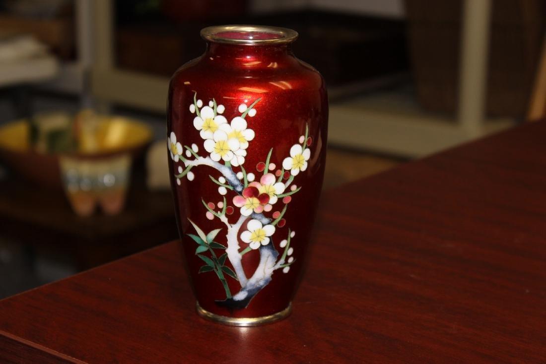A Japanese Ginbari Silver Wire Cloisonne Vase