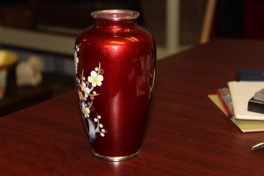 A Japanese Ginbari Silver Wire Cloisonne Vase - 2