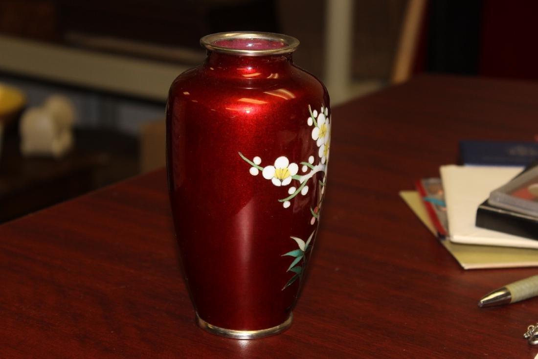A Japanese Ginbari Silver Wire Cloisonne Vase - 4