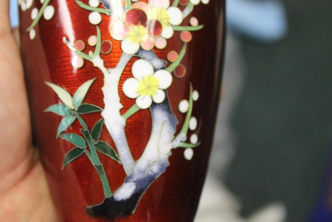 A Japanese Ginbari Silver Wire Cloisonne Vase - 8