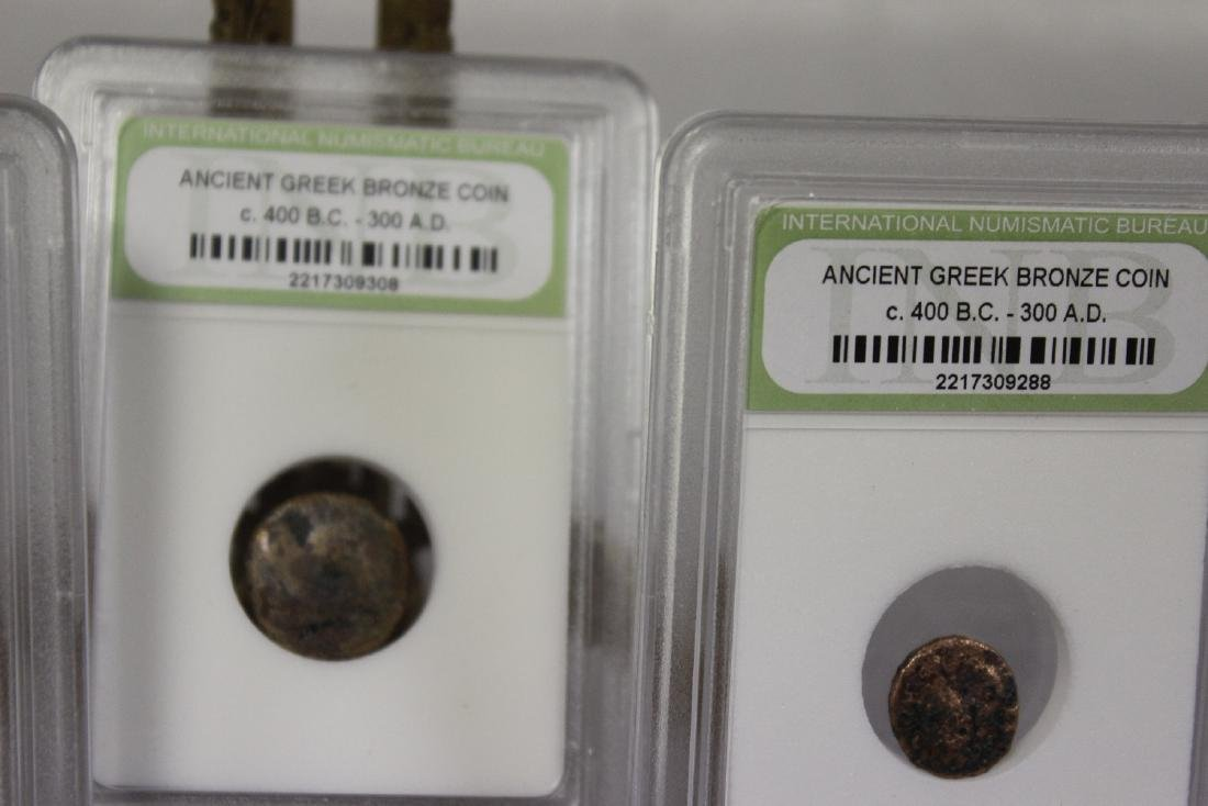 Lot of 4 Slap Ancien Greek Bronze Coins - 3