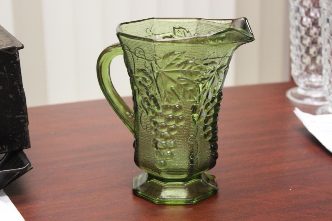 A Green Press Glass Pitcher