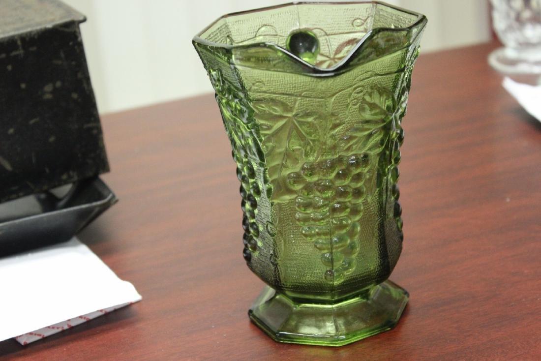 A Green Press Glass Pitcher - 5
