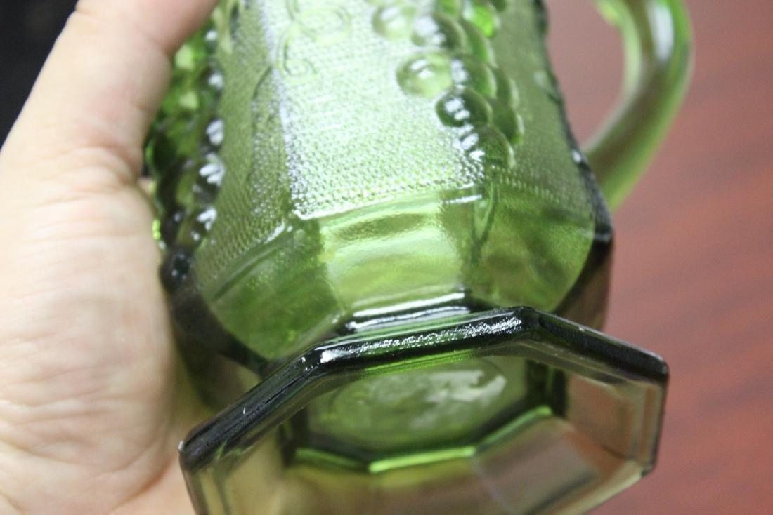 A Green Press Glass Pitcher - 7
