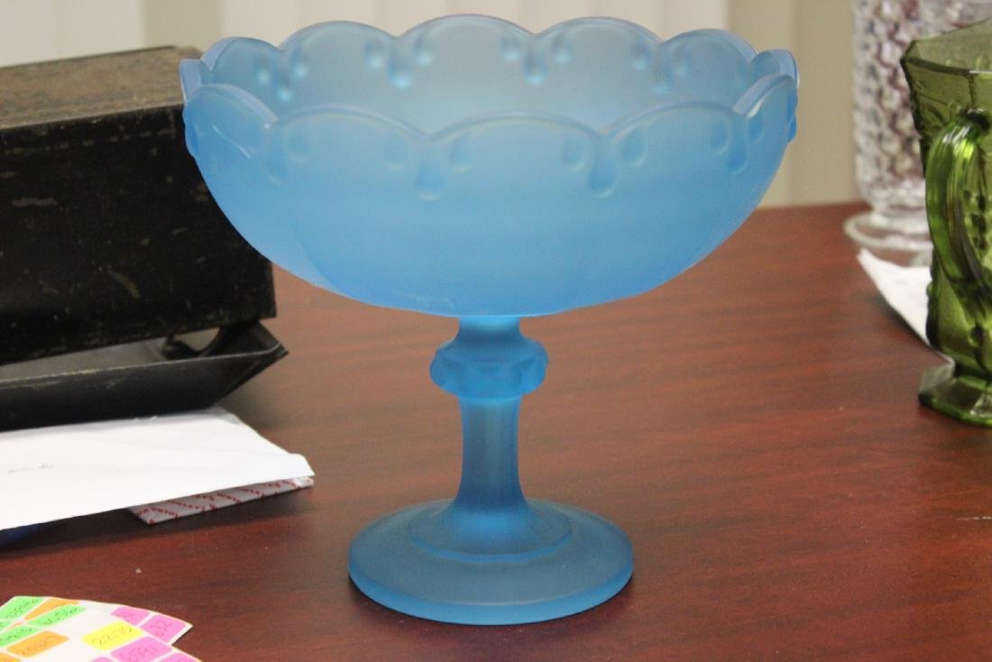 A Frost Blue Glass Compote