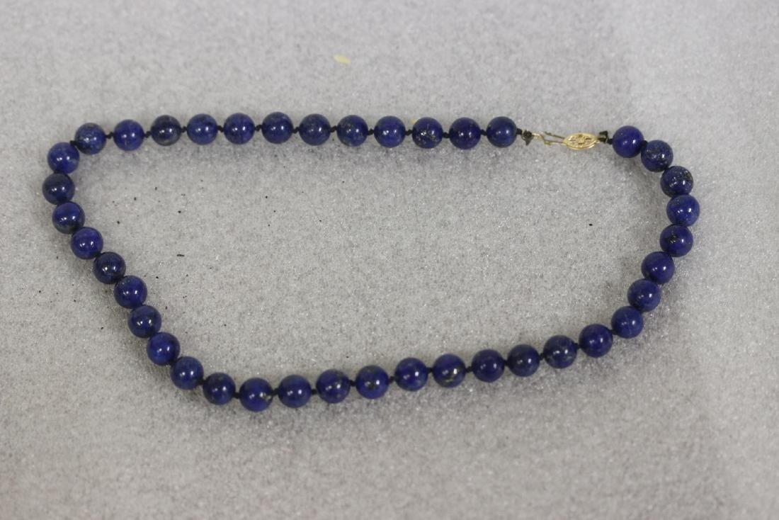 A 14 Kt Gold Clasp and Lapis Lazuli Necklace