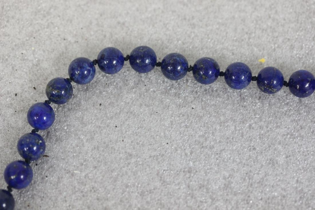A 14 Kt Gold Clasp and Lapis Lazuli Necklace - 5