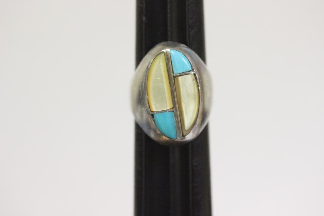 A Torquoise and Mother of Pearl Sterling Ring