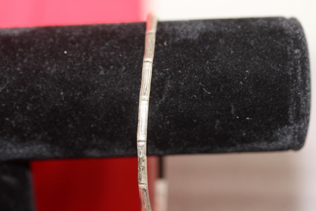 A Sterling Bamboo Bangle Bracelet - 2