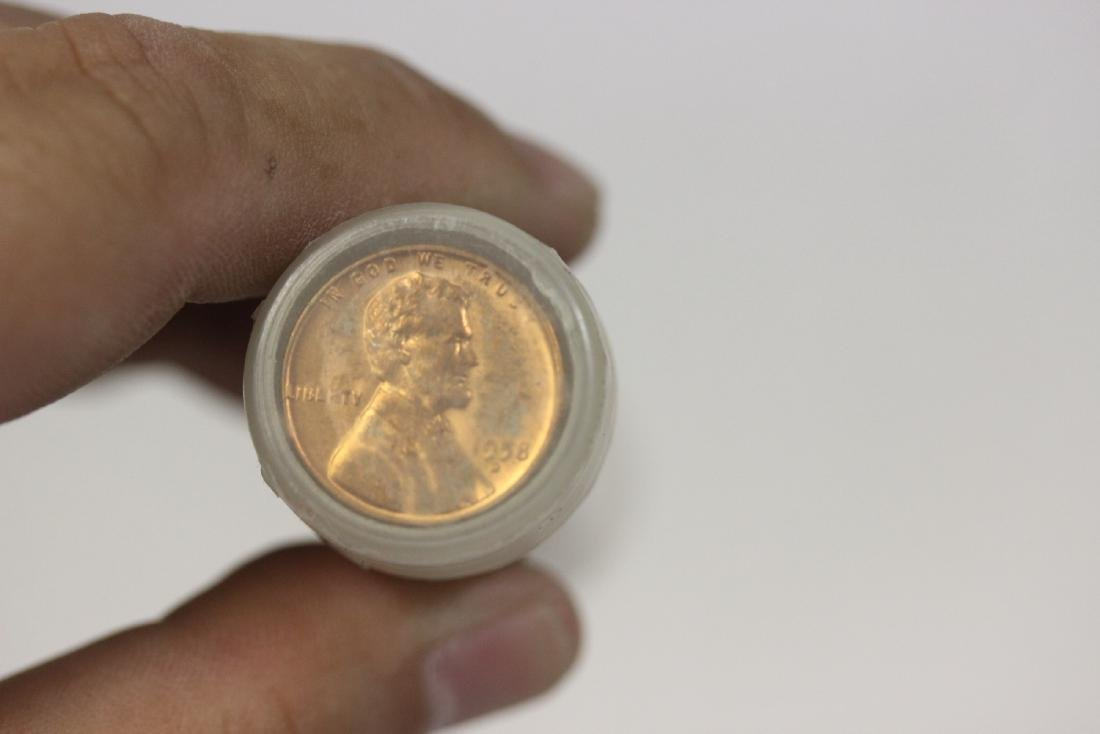 A Tube of 50 1958 D Lincoln Wheat Pennies - 2