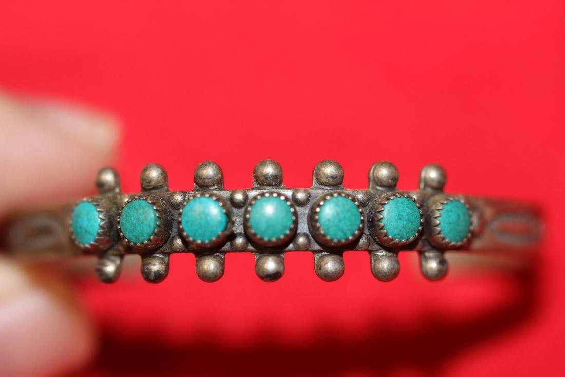 A Sterling and Torquise Child Bracelet - 2