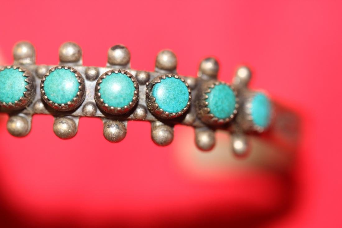 A Sterling and Torquise Child Bracelet - 6