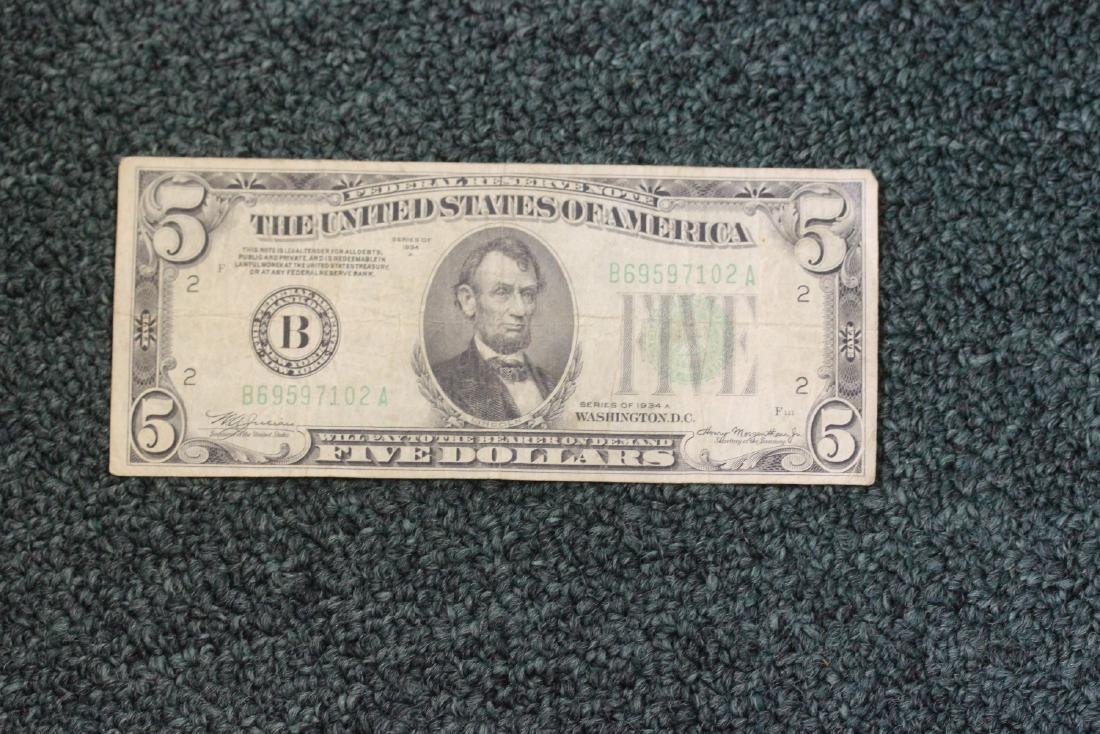 A 1934 Five Dollar Note