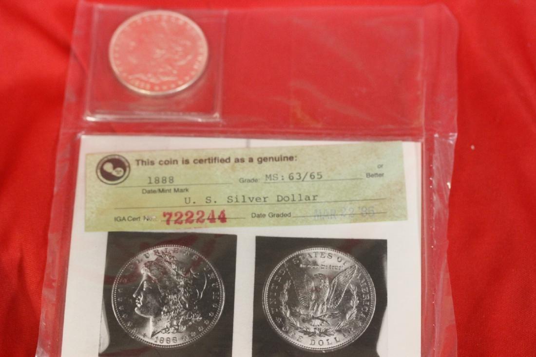 An 1888 P Morgan Silver Dollar