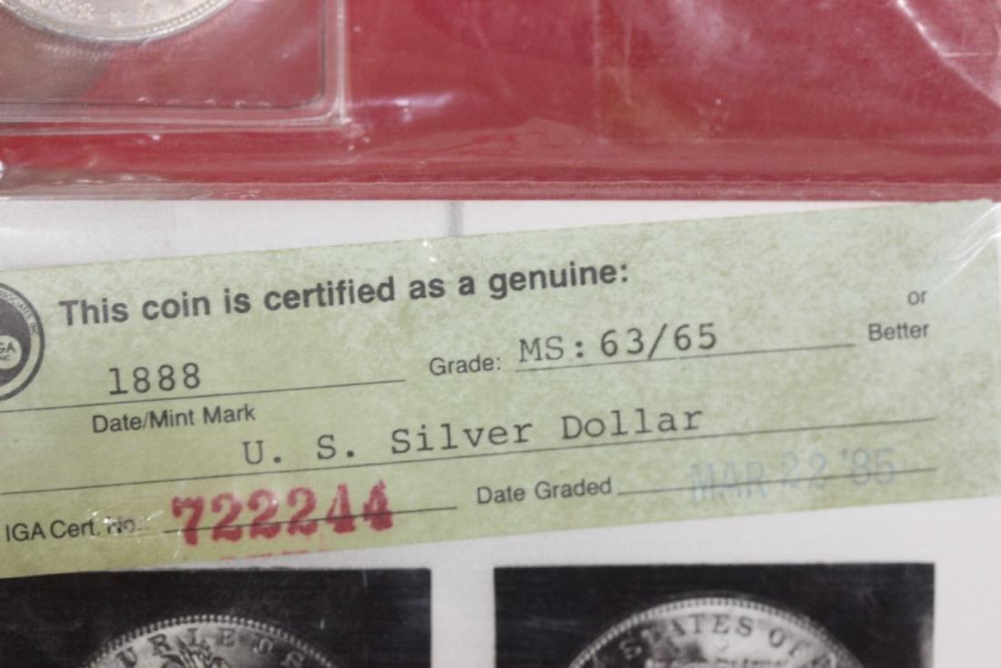 An 1888 P Morgan Silver Dollar - 3