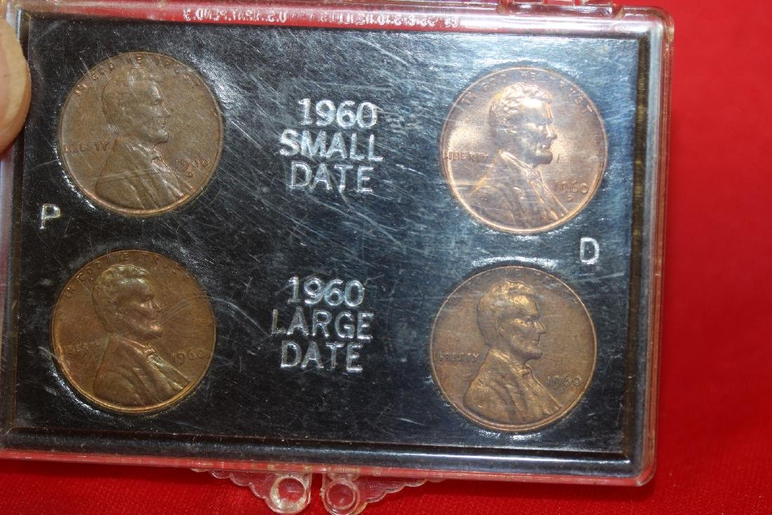 A 1960 Small and Large Date Lincoln Pennies