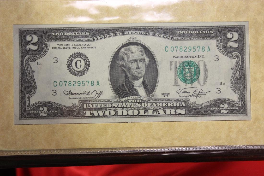 The US of America's Two Dollar Bicentennial Bill