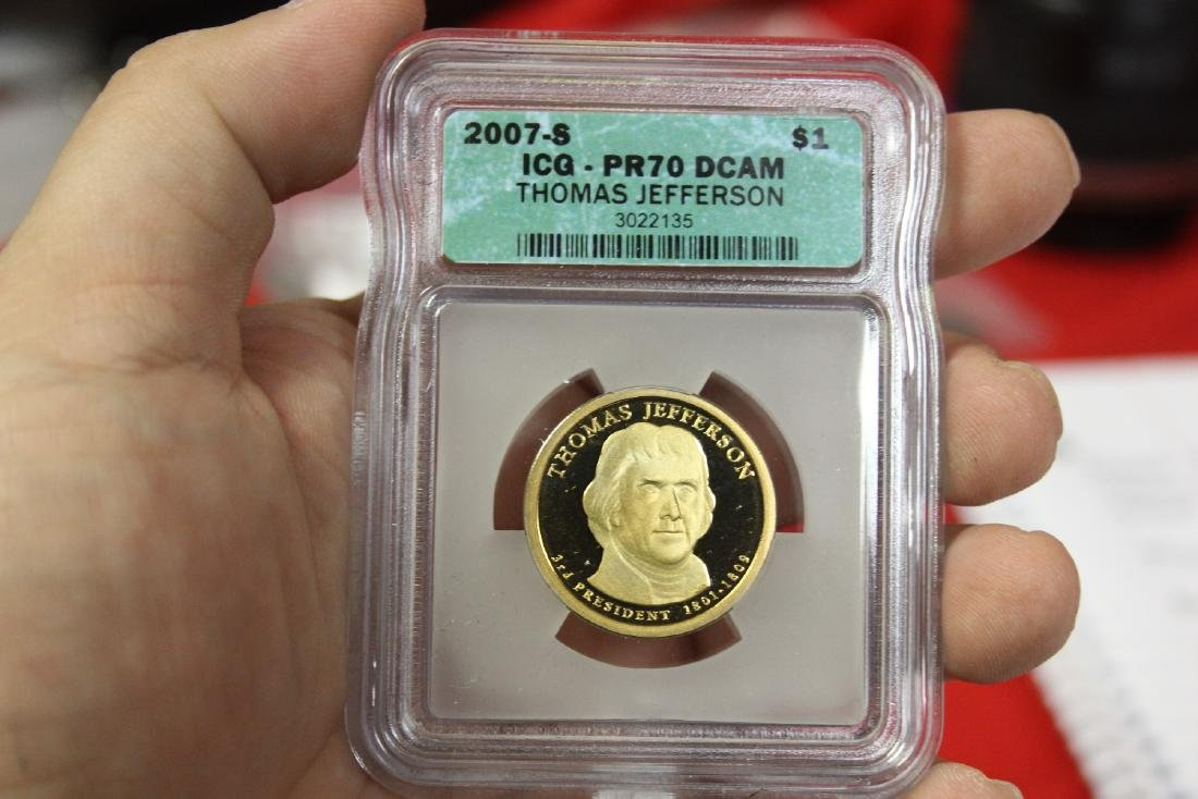 A 2007-S Thomas Jefferson One Dollar Coin