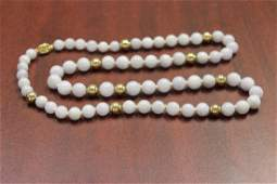 A Lavender Jade and 14Kt Gold Necklace