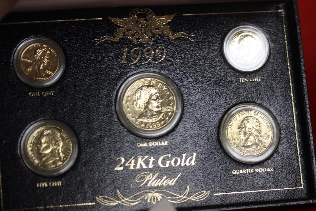 A 24Kt Gold Plated 5 Coin Set