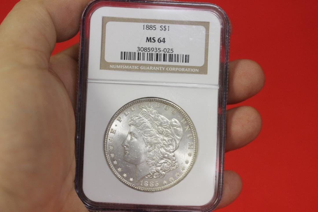 A Graded 1885 Morgan Silver Dollar