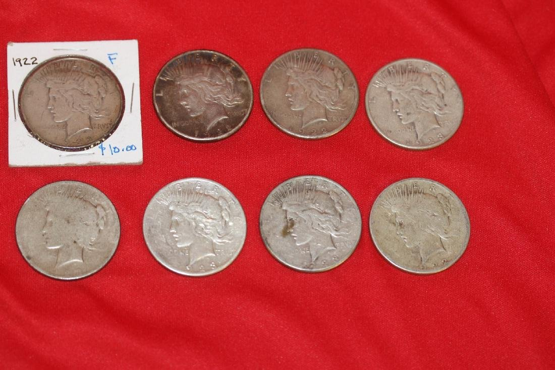 Lot of 8 Peace Dollars