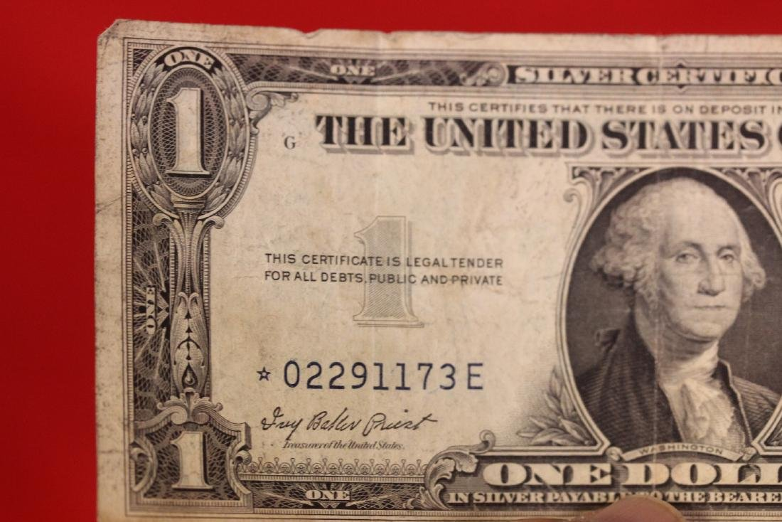 A Star Note - One Dollar Blue Seal - 4