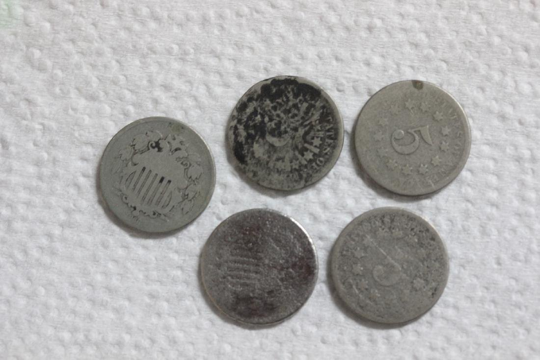 Lot of 5 Shield Nickels