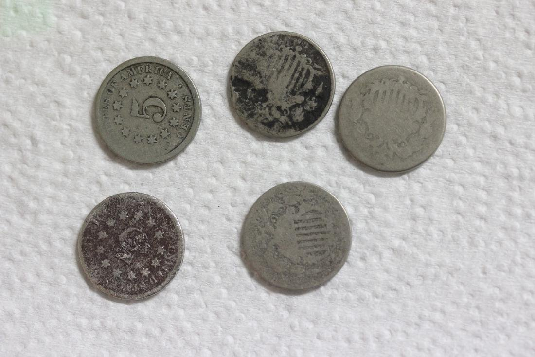 Lot of 5 Shield Nickels - 2