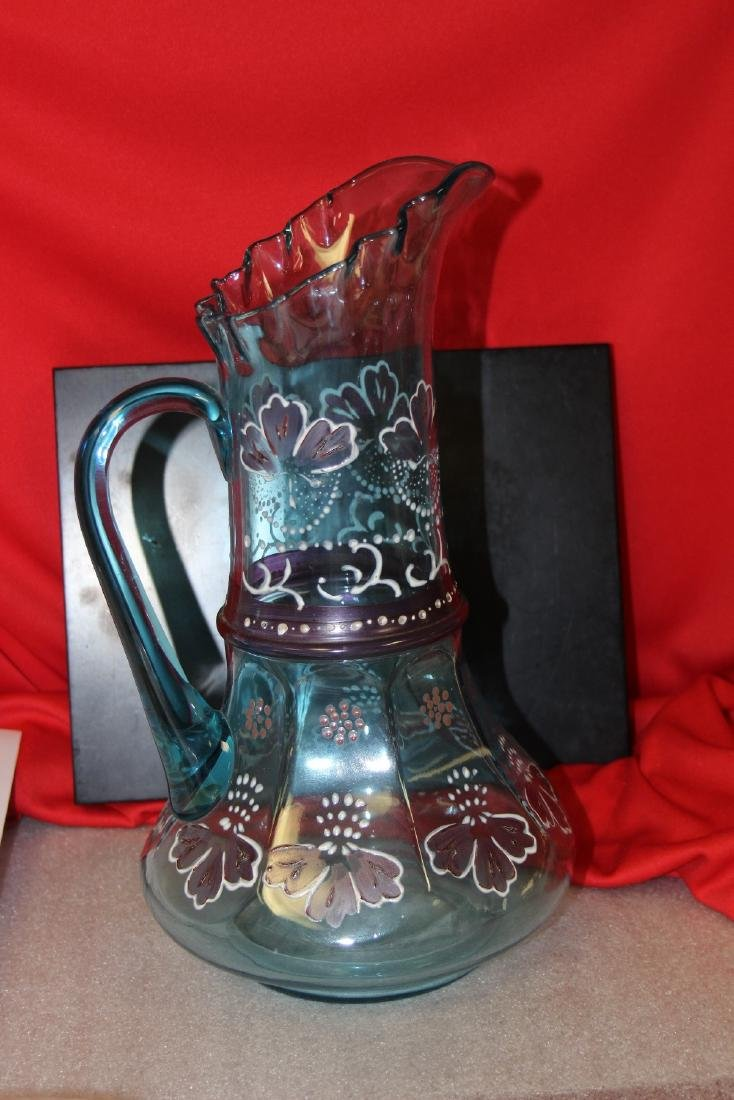 A Moser? Hand Painted Glass Pitcher