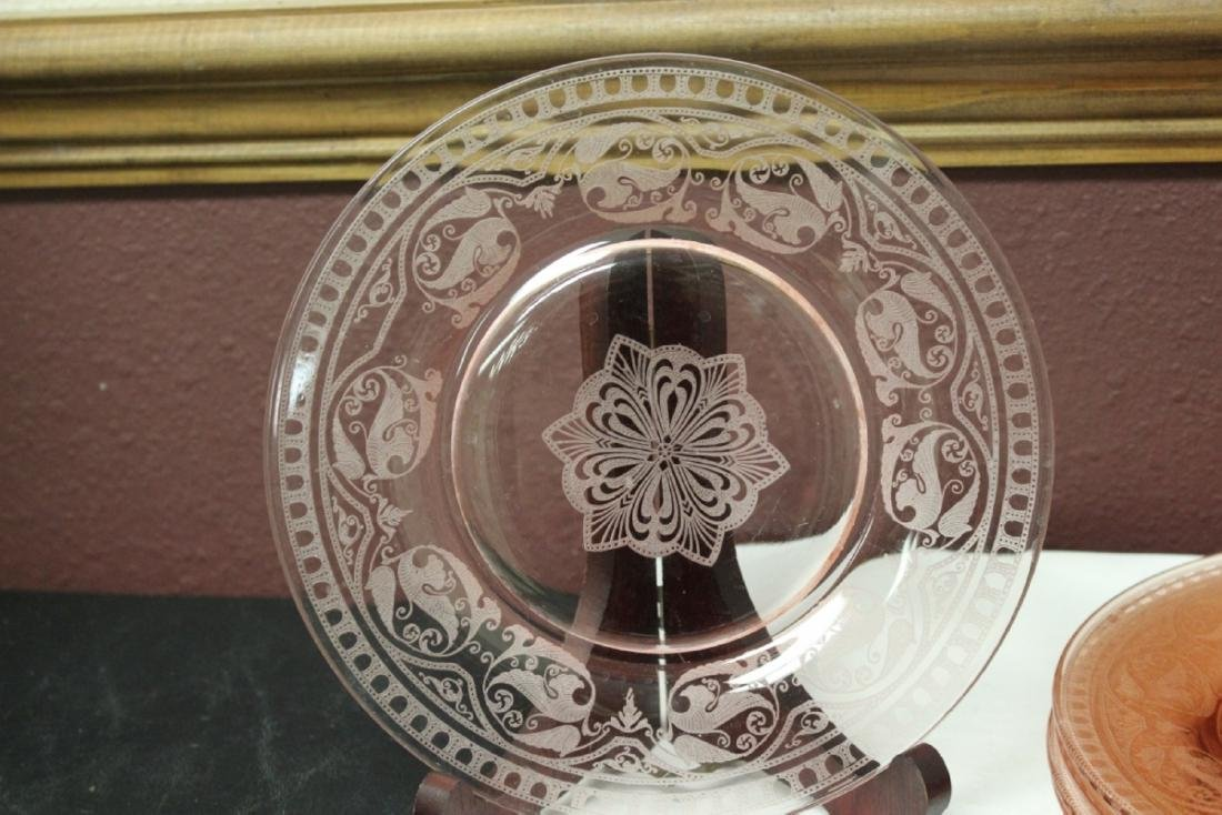 Lot of 5 Etched Pink Depression Glass Plates - 2