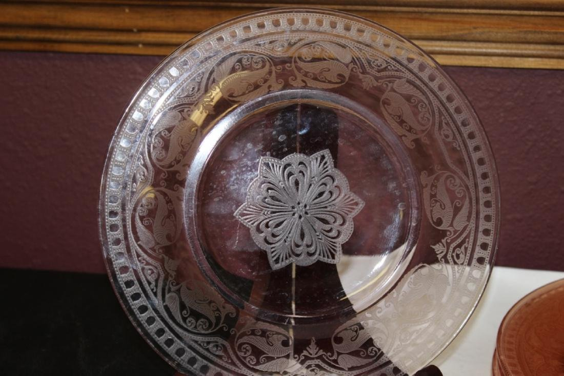 Lot of 5 Etched Pink Depression Glass Plates - 4