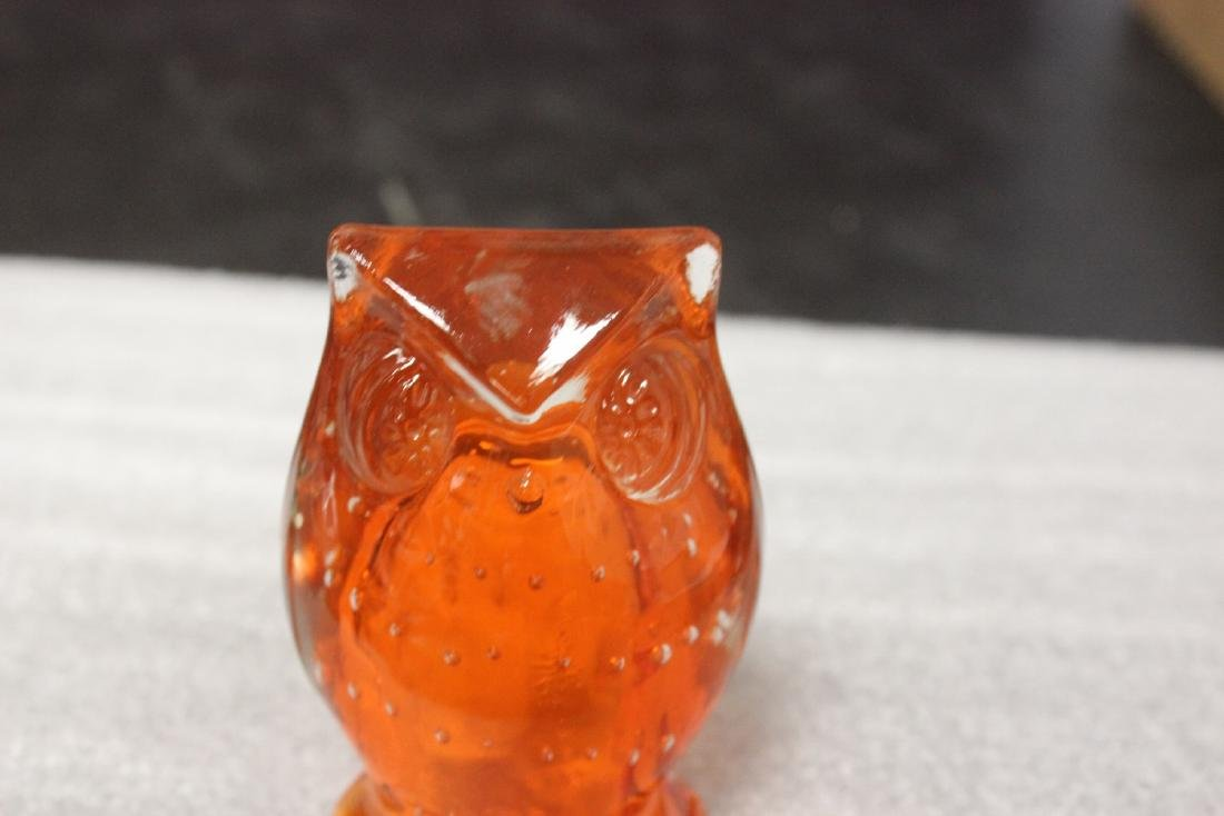 An Orange Colour Glass Owl - 3
