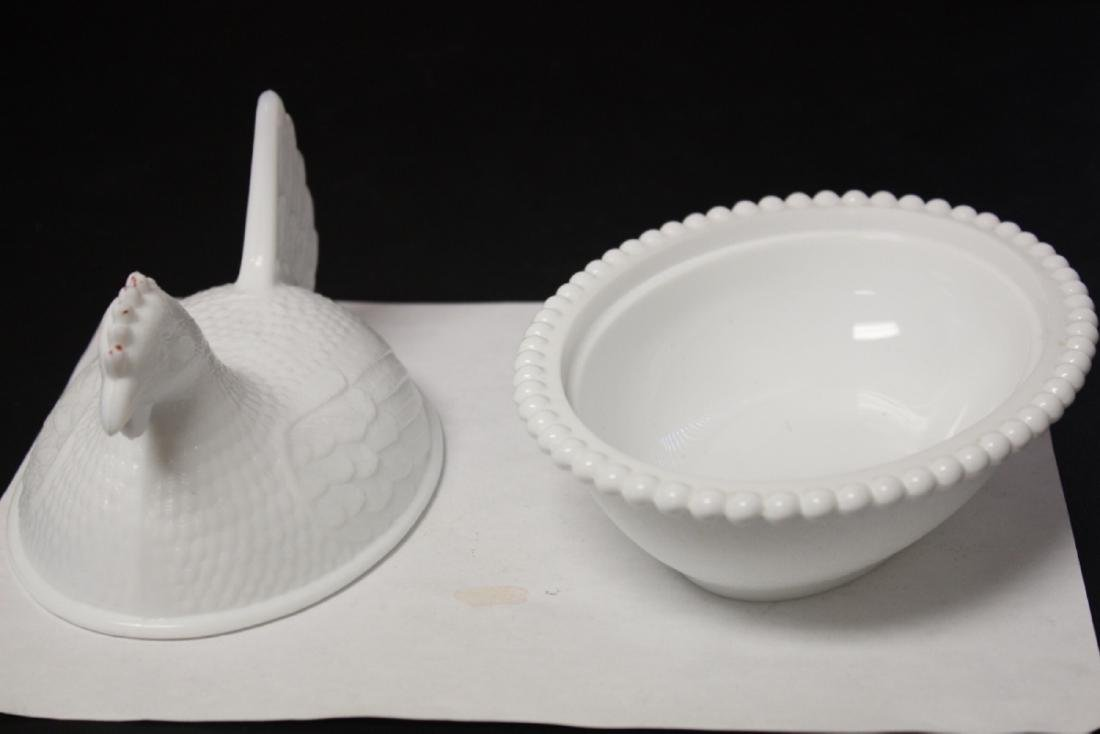 A Milk Glass Chicken Dish Container - 3