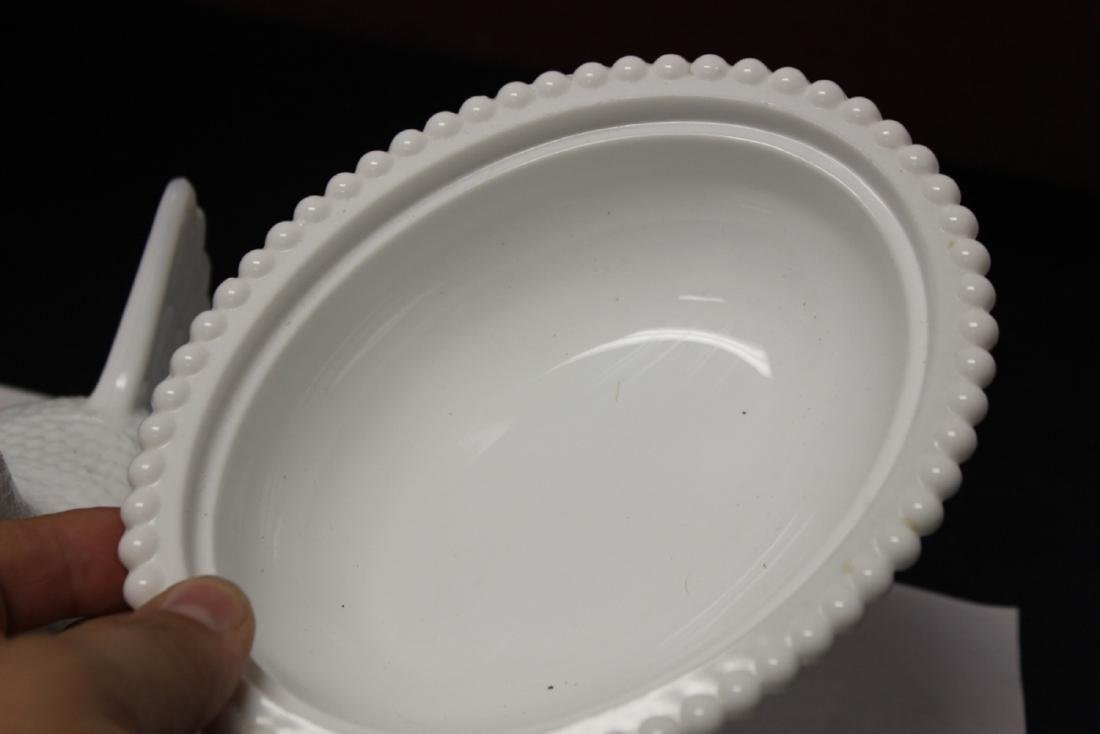 A Milk Glass Chicken Dish Container - 4