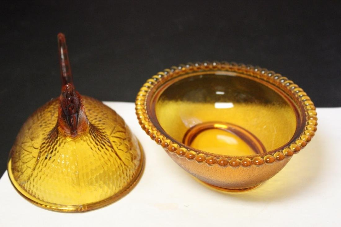 An Amber Colour Glass Fenton(?) Chicken Candy Dish - 3