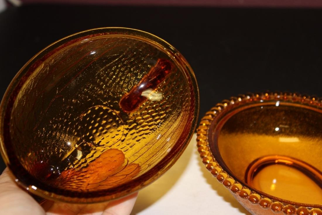 An Amber Colour Glass Fenton(?) Chicken Candy Dish - 4