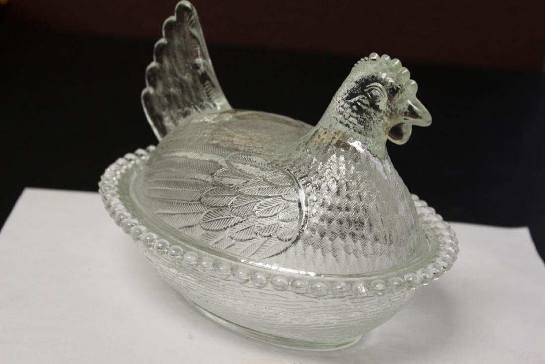 A Clear Glass Fenton(?) Chicken Candy Dish - 2