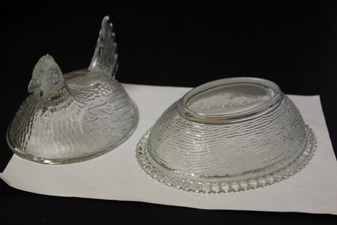 A Clear Glass Fenton(?) Chicken Candy Dish - 6