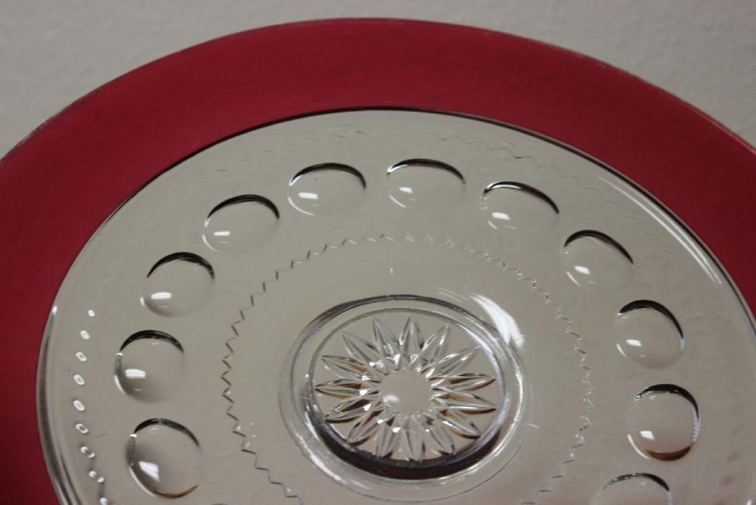 A Ruby Red Serving Tray - Glass - 2