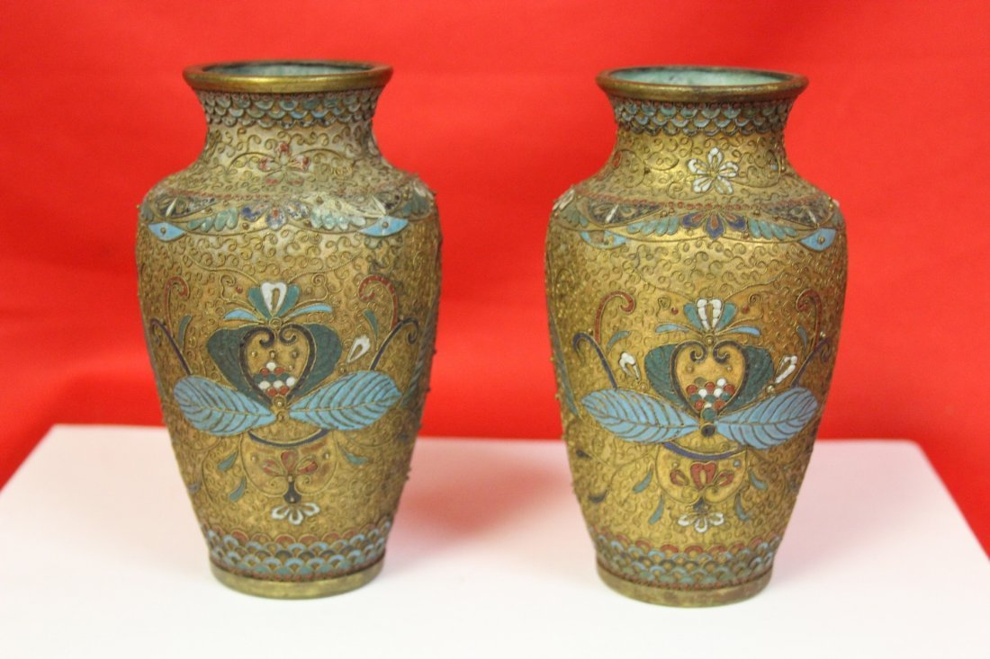 Pair of Antique Cloisonne Vase