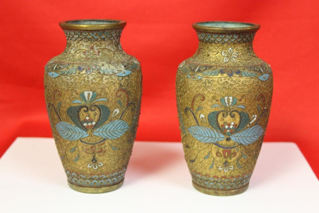 Pair of Antique Cloisonne Vase - 2