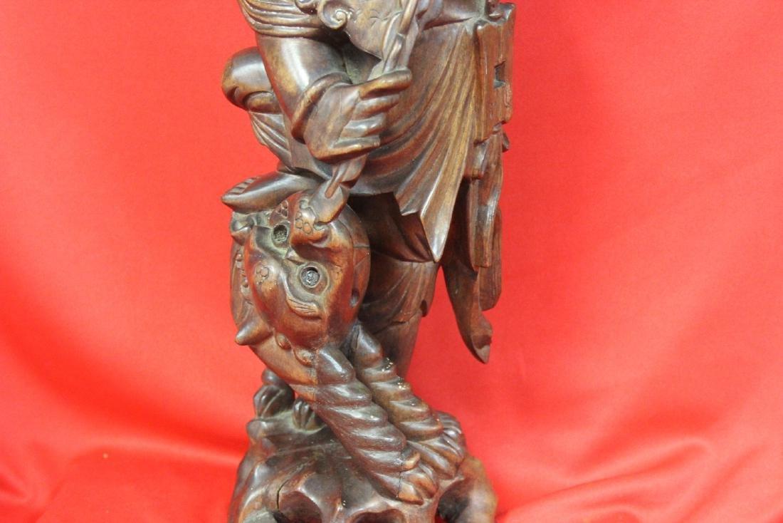 A Chinese Wooden Sculpture - 3
