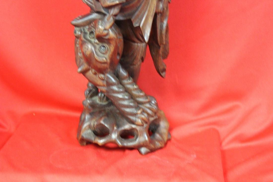 A Chinese Wooden Sculpture - 4
