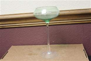 A Green Glass Stem Goblet