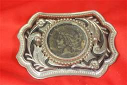 A Vintage Peace Dollar Belt Buckle
